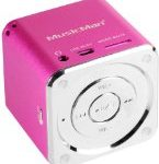 MusicMan Mini Soundstation (MP3 Player, Stereo Lautsprecher, Line In Funktion, SD/microSD Kartenslot) pink