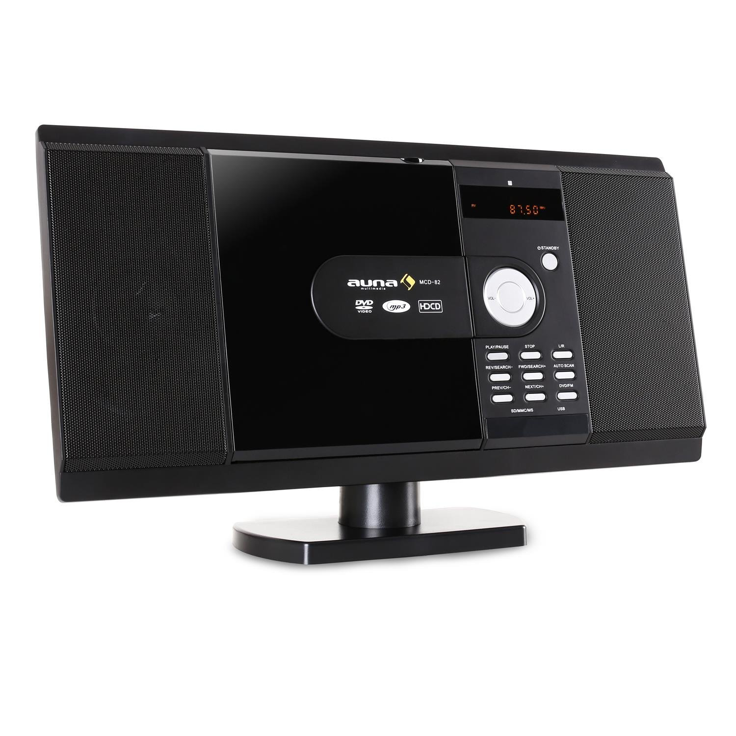 auna BlackMask Vertikal-Stereoanlage, MP3-fähiger CD-Player, FM und DAB+ Radiotuner, Bluetooth-Funktion, Blackmask Display: Negatives LCD-Display, AUX-Eingang, USB-Port, Kopfhöreranschluss, schwarz