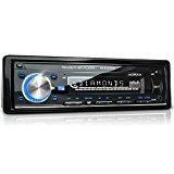 XOMAX XM-RSU250B Autoradio mit USB Anschluss (bis 32 GB) & Micro SD Kartenslot (bis 32 GB) für MP3 und WMA + Beleuchtungsfarbe blau + AUX-IN + Verkürzte Einbautiefe + Single DIN (1 DIN) Standard Einbaugröße + inkl. Einbaurahmen und Fernbedienung<