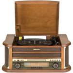 Roadstar HIF-1899 Retro Stereo-Anlage mit Plattenspieler, Kassette, CD-Player und Radio (UKW / MW, CD / MP3, USB, beleuchtetes LCD-Display, Fernbedienung, 40 Watt Musikleistung), braun