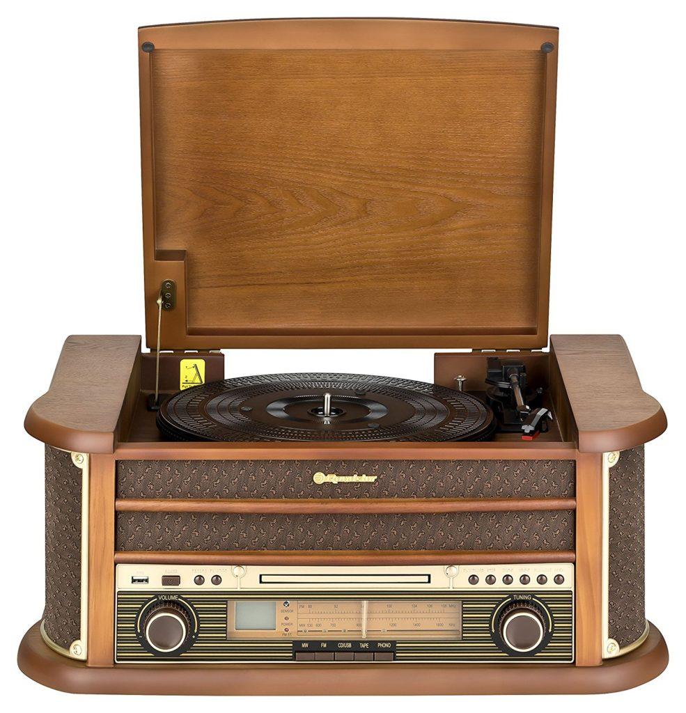 roadstar hif 1899 retro stereo anlage mit plattenspieler. Black Bedroom Furniture Sets. Home Design Ideas