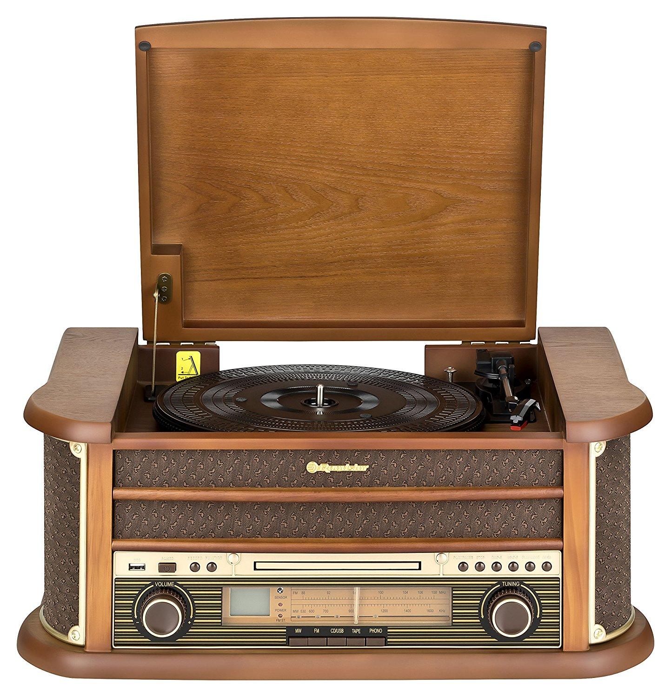 Roadstar HIF-1899 Retro Stereo-Anlage mit Plattenspieler, Kassette, CD-Player und Radio
