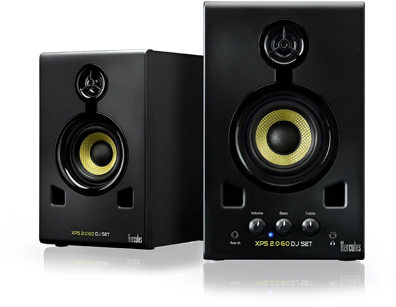 Hercules 2.1 Slim (2.1 Lautsprecher, 60 W, Lautstärke-/Bassregler, Tischfernbedienung, Kopfhörer-/AUX-Eingang)