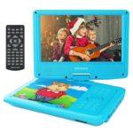 9.5'' Tragbarer DVD-Player mit Wiederaufladbarer Batterie, Schwenkbaren Bildschirm, Unterstützt SD-Karte und USB, mit 1.8M Auto-Ladegerät und Stromadapter (Blau)
