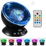 Ghope Nachttischlampe Musik-Player mit Nachtlicht und Ocean-Projektor-Deckenleuchte inkl. Fernbedienung - Romantisches Dekor für Schlafzimmer oder Wohnzimmer Geschenk für Kinder, Schwarz, A +++