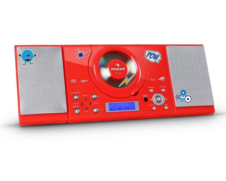 Rote AUNA Stereo-Kompaktanlage