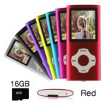 Ueleknight MP3/MP4-Player mit einer 16G Micro SD-Karte, Portable Digital Music Player auch als Sprachaufzeichnung/FM-Radio/Video/E-Book-Reader, 1,8 Zoll LCD-Bildschirm Economic MP3 Player-rot