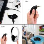 FirstE tragbarer drahtloser Bluetooth-Transmitter angeschlossen an TV und 3,5 mm aux-Audio-Geräte gepaart mit Bluetooth-Kopfhörer/Bluetooth-Dongle, A2DP Stereo-Musik-Übertragung (kein Bluetooth-Receiver)