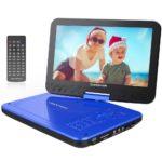 """10.5"""" Tragbarer DVD-Player mit Wiederaufladbarer Batterie, 1024*600 Digital TFT Schwenkbaren Bildschirm, unterstützt SD-Karte und USB (Blau)."""