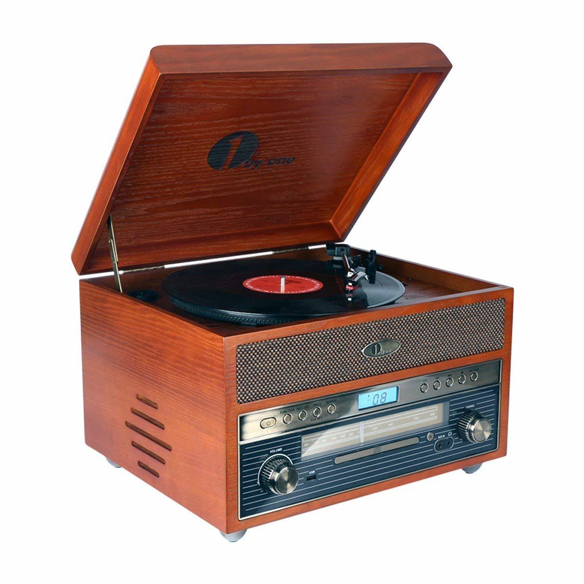 Nostalgischer Bluetooth Holz-Plattenspieler