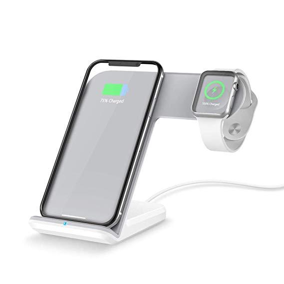Janly Qi Wireless 2in1 Schnellladegerät Ladehalter Pad Dock