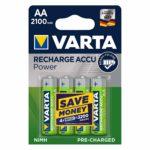 Varta Rechargeable Accu Ready2Use vorgeladener AA Mignon 2100 mAh Ni-Mh Akku (4er Pack - wiederaufladbar ohne Memory-Effekt - sofort einsatzbereit)