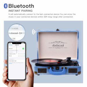 dodocool Plattenspieler, Tragbarer Vinyl-Plattenspieler mit Bluetooth