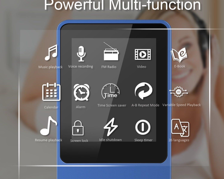 MP3 Player, 8 GB verlustfrei MP3 mit 1.8 Zoll Bildschirm und Multifunktion