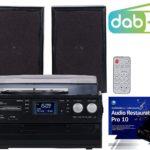 auvisio Musikanlagen: 5in1-Plattenspieler mit DAB+/FM-Radio, Bluetooth, CD/Kassetten-Player (Stereoanlagen mit Plattenspieler)