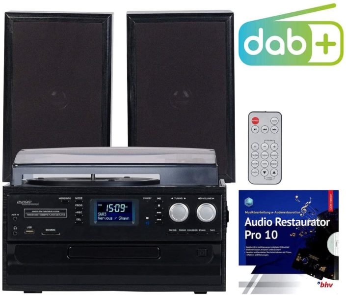 5 in 1 Plattenspieler mit DAB+/FM-Radio, Bluetooth, CD/Kassetten-Player